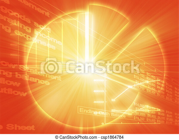 negócio, spreadsheet, ilustração, gráficos - csp1864784