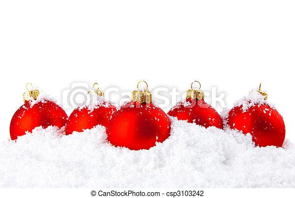 neve, tigelas, decoração, branca, feriado, natal, vermelho - csp3103242