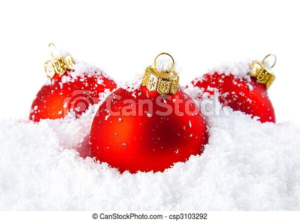 neve, tigelas, decoração, branca, feriado, natal, vermelho - csp3103292