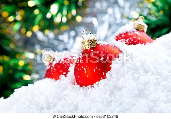 neve, tigelas, decoração, branca, feriado, natal, vermelho - csp3103246