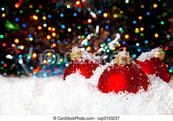 neve, tigelas, decoração, branca, feriado, natal, vermelho - csp3103237