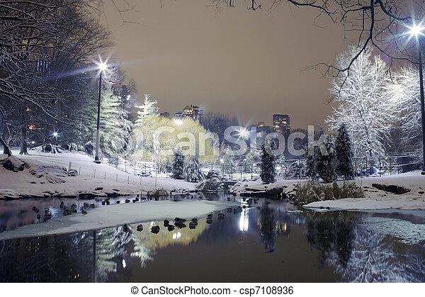 noturna, parque, central, nyc - csp7108936
