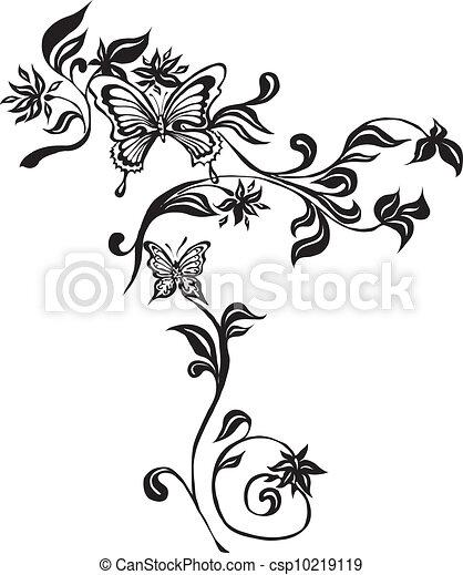 ornamental, borboletas, feito, eps - csp10219119