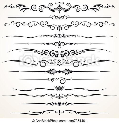 ornamental, diferente, linhas, regra, desenho - csp7384461
