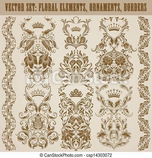 ornaments., vetorial, jogo, damasco - csp14303072