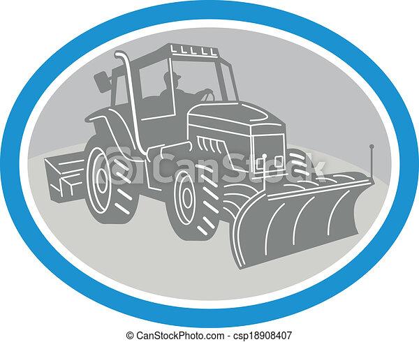 oval, arado, caminhão, neve, retro - csp18908407