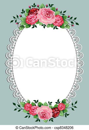 oval, vindima, quadro, rosas - csp8348206