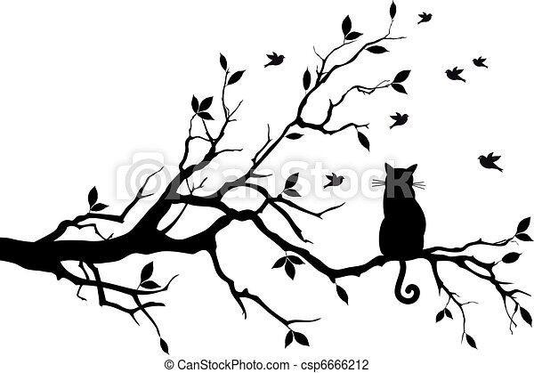 pássaros, vetorial, árvore, gato - csp6666212