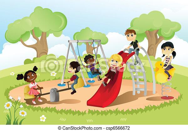 pátio recreio, crianças - csp6566672