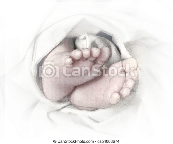 pés bebê, esboço, lápis - csp4088674