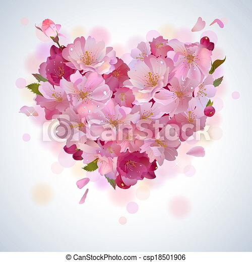 pétala, coração, vetorial, fundo, cereja - csp18501906