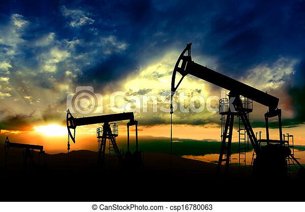 pôr do sol, trabalhando, fundo, bombas, óleo - csp16780063