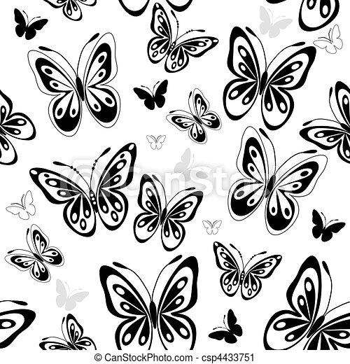 padrão, borboletas, branca, repetindo - csp4433751