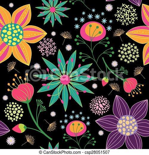 padrão, flor, coloridos, seamless, fundo - csp28051507