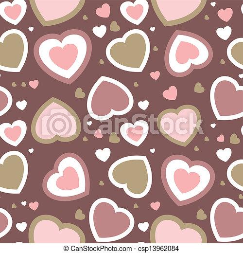 padrão, flores, seamless, corações - csp13962084