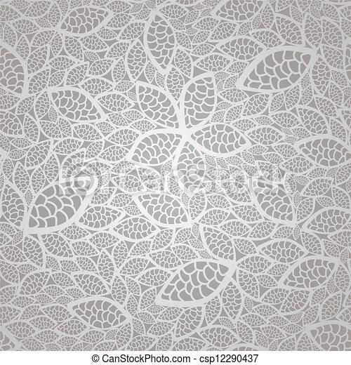 padrão, folhas, renda, prata, seamless - csp12290437