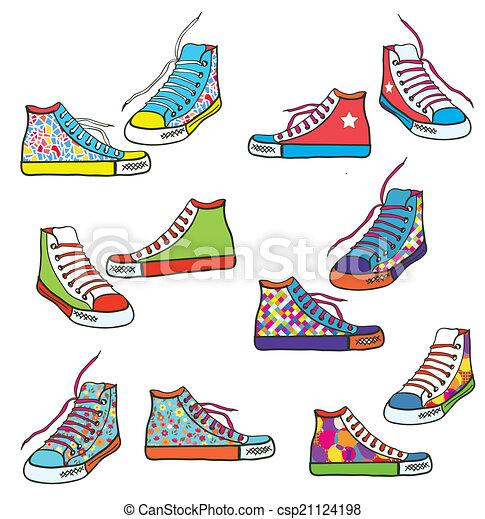 padrão, jogo, sneakers, desenho, engraçado - csp21124198