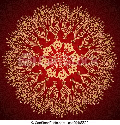 padrão, ornamento, renda, ouro, borgonha - csp20465590