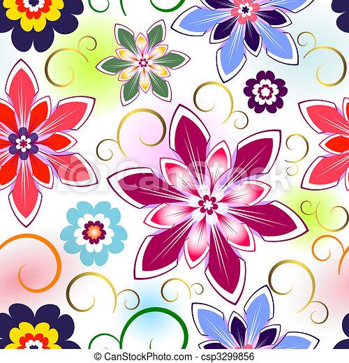 padrão, seamless, floral - csp3299856