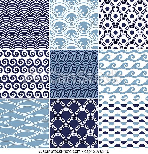 padrão, seamless, onda oceano - csp12076310