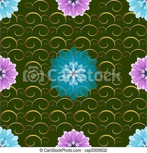 padrão, seamless, verde, floral - csp3300632