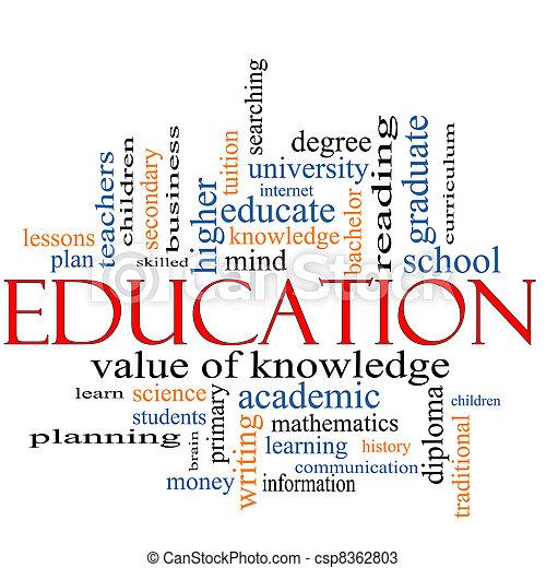 palavra, conceito, educação, nuvem - csp8362803