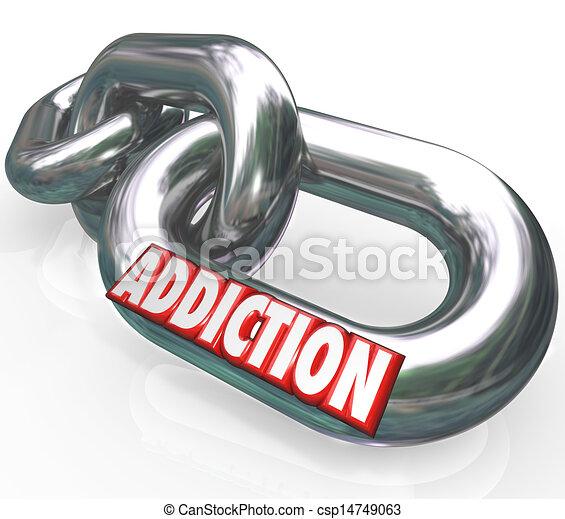 palavra, corrente liga, apanhado, doença, viciado, vício - csp14749063