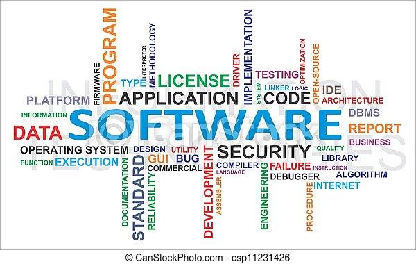 palavra, -, nuvem, software - csp11231426