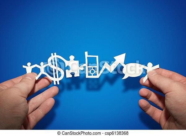 papel, negócio, corrente - csp6138368