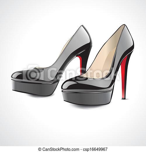 par, pretas, sapatos, alto-colocar salto* no* sapato* - csp16649967