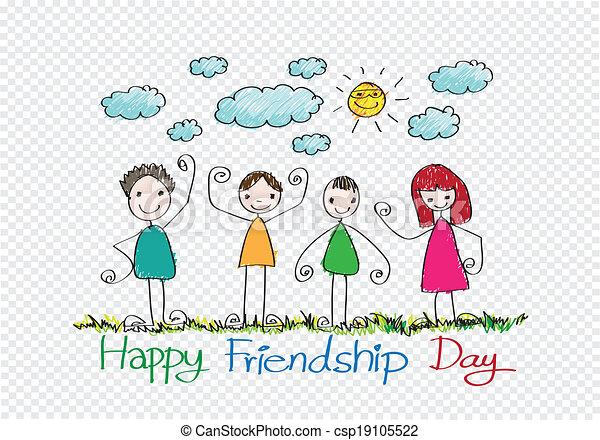 para sempre, amizade, idéia, desenho, amigos, dia, melhor, feliz - csp19105522