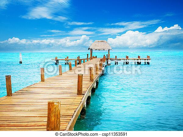 paradise., trópico, mujeres, férias, jetty, méxico, isla - csp11353591