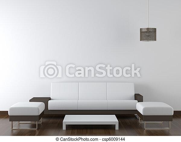 parede, modernos, desenho, interior, branca, mobília - csp6009144