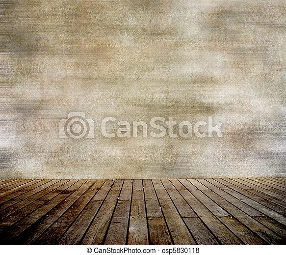 parede, paneled, madeira, grunge, chão - csp5830118