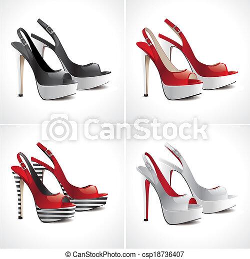 pares, jogo, sapatos, sandálias, 4 - csp18736407
