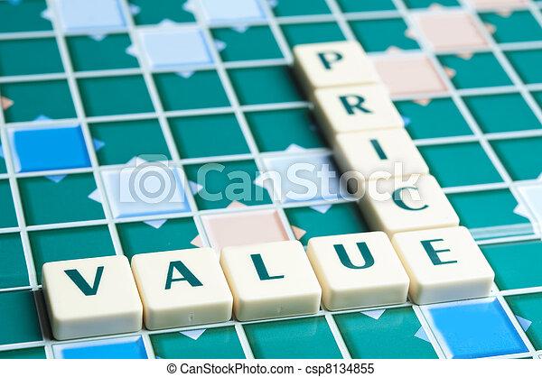 pedaços, letra, preço, feito, valor, palavra - csp8134855