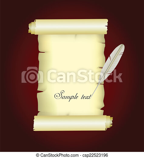pena, papel, pergaminho, antigas - csp22523196