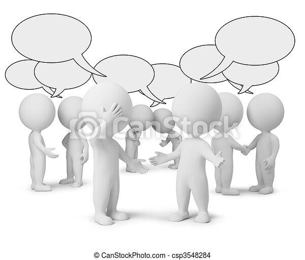 pequeno, discussão, 3d, -, pessoas - csp3548284