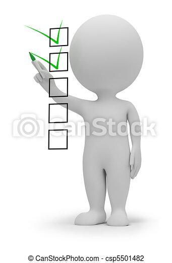 pequeno, lista de verificação, 3d, -, pessoas - csp5501482