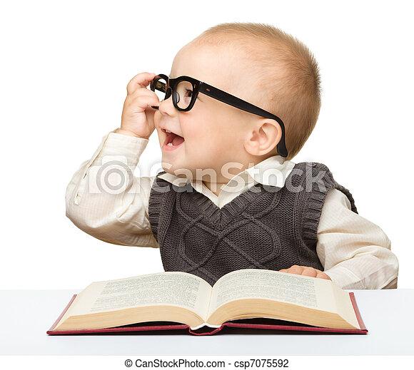 pequeno, livro, jogo, óculos, criança - csp7075592