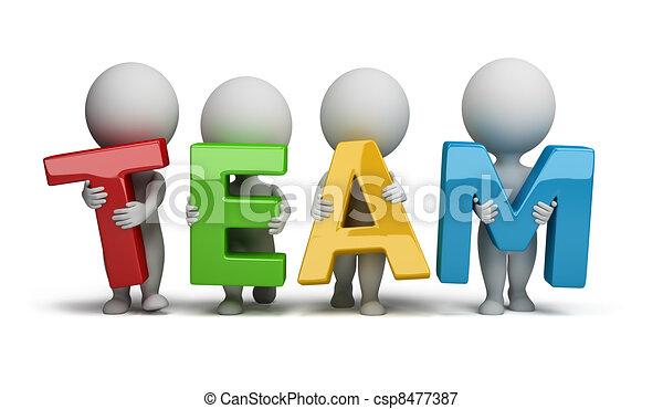 pequeno, pessoas, -, 3d, equipe - csp8477387