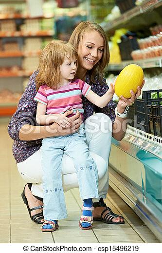 pequeno, shopping mulher, menina, frutas - csp15496219
