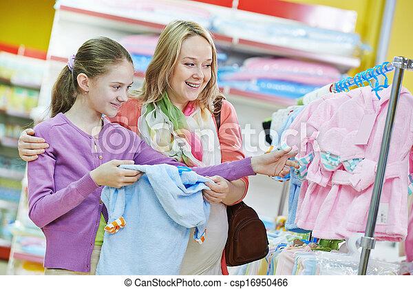 pequeno, shopping mulher, menina, roupas - csp16950466
