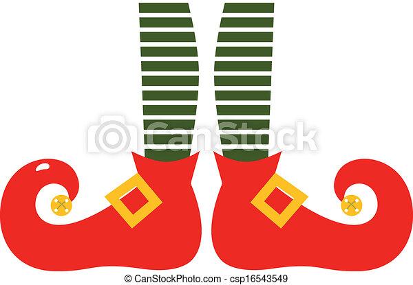 pernas, elf's, isolado, natal, caricatura, branca - csp16543549