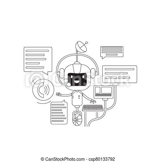 personagem, design., online, app, linha, criativo, chatbot, application., 2d, vetorial, teia, idéia, magra, robô, caricatura, conceito, apoio, conversa, conversando, internet, serviço, bot, comunicação, illustration. - csp80133792