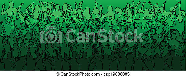 pessoas, dançar, -green, torcida, grande - csp19038085
