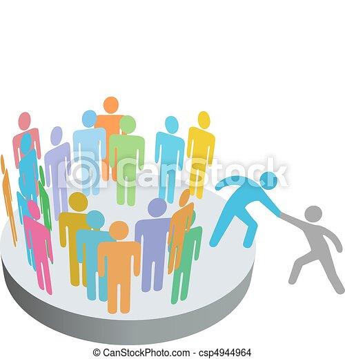 pessoas, juntar, ajudas, pessoa, membros, grupo, companhia, ajudante - csp4944964