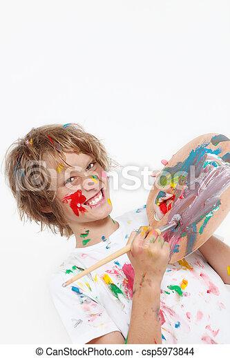 pintura, criança, tocando, cheeky - csp5973844