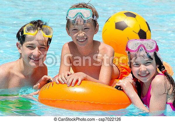 piscina, crianças, natação - csp7022126