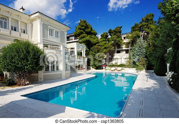 piscina, luxo, natação, vila - csp1363805